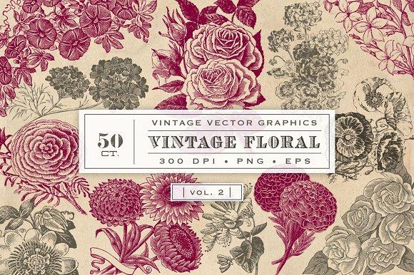 Vintage Flower Vector Graphics 2