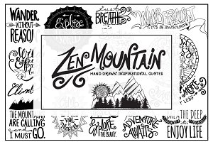 Zen Mountain Hand Drawn Lettering