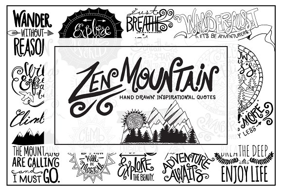 Zen Mountain Hand Drawn Lettering Illustrations Creative Market