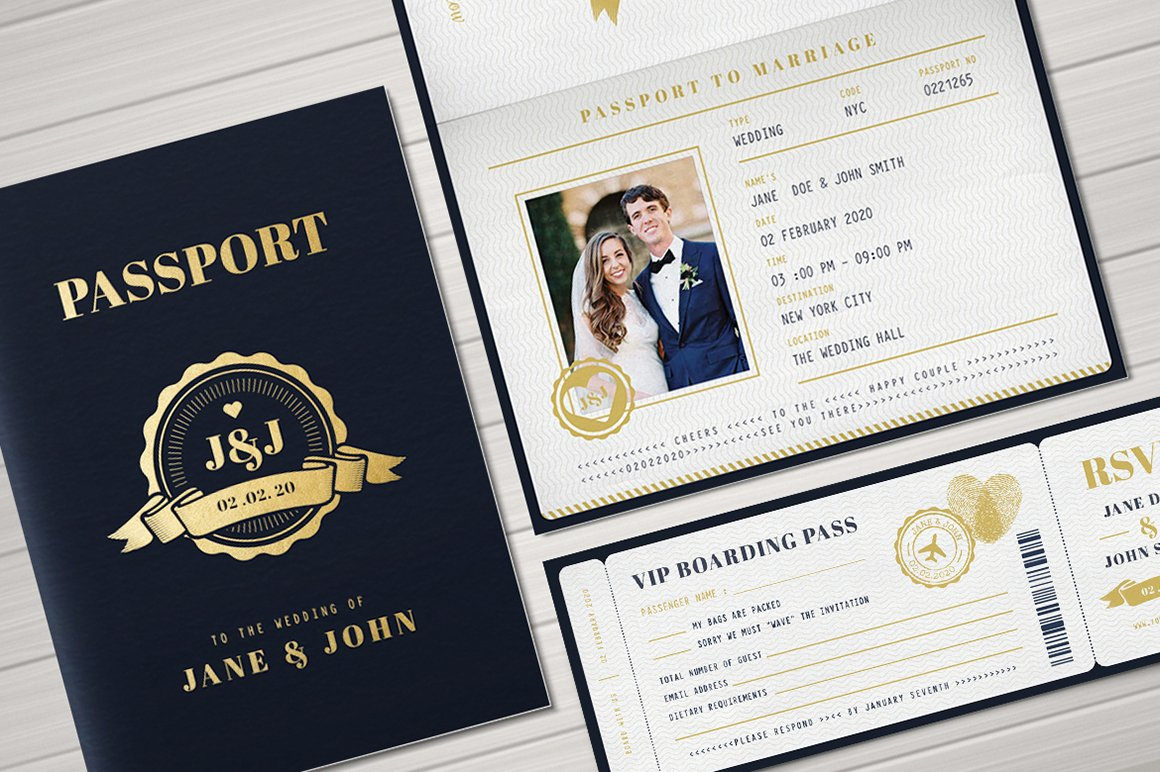 Passport Wedding Invitation ~ Invitation Templates ~ Creative Market
