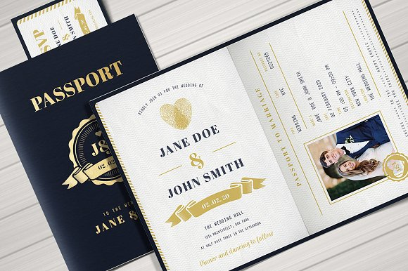 Passport wedding invitation invitation templates creative market stopboris Gallery