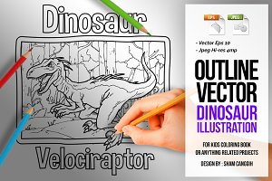 Dinosaur Art Line - Velociraptor