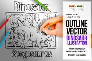Dinosaur Art Line - Stegosaurus