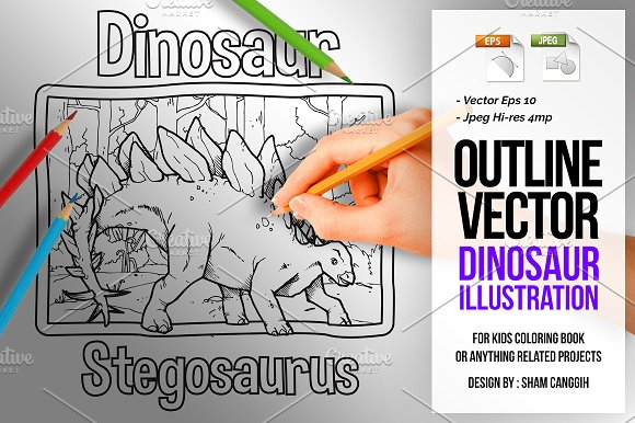 Dinosaur Art Line Stegosaurus