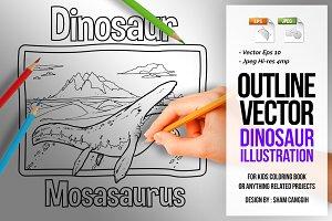Dinosaur Art Line - Mosasaurus