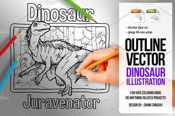 Dinosaur Art Line Juravenator