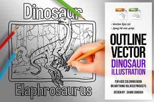 Dinosaur Art Line - Elaphrosaurus