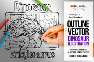 Dinosaur Art Line - Ankylosaurus