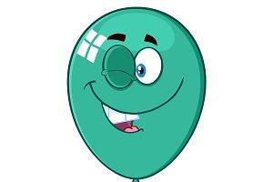 Winking Turquoise Balloon