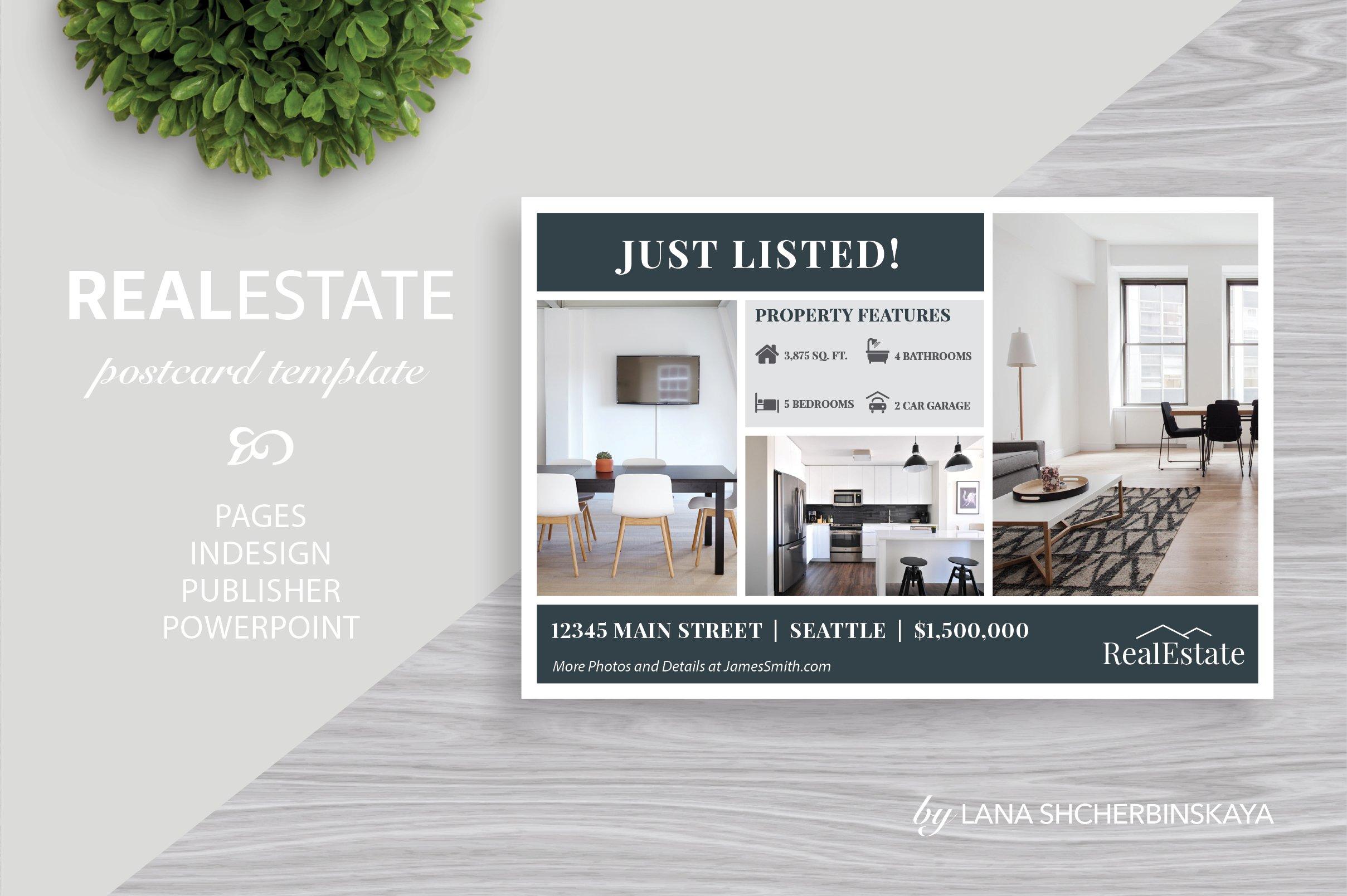 real estate postcard template no 1 card templates creative market. Black Bedroom Furniture Sets. Home Design Ideas
