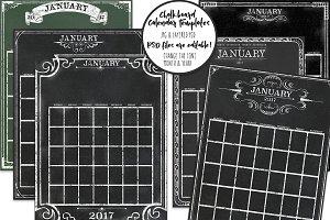Chalkboard Calendar Editable
