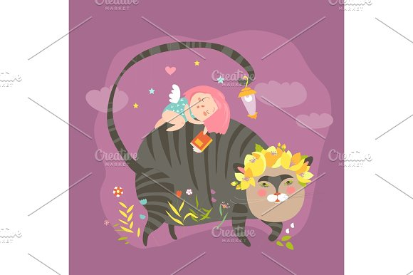 Dreaming Girl With For Magic Cat