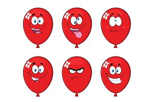 Red Balloons With Expressions