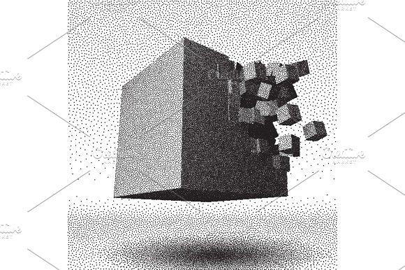 Dotwork Raster Cube Explosion