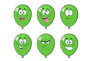 Green Balloons With Expressions