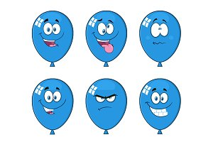 Blue Balloons With Expressions