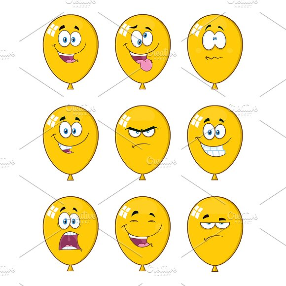 Yellow Balloons With Expressions