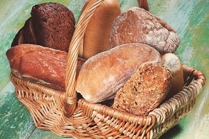 Various Bread in Basket