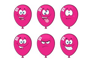 Violet Balloons With Expressions