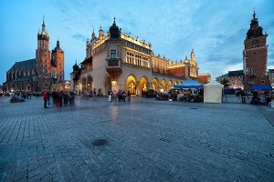 Krakow Old Town at Dusk in Poland