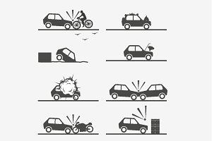 Car crash icons set