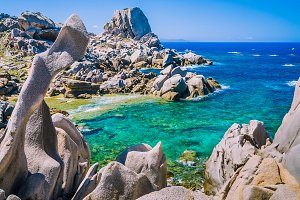 Rock formations in Capo Testa, Sardinia, Italy. Mediterranean coast. Natural granite monument