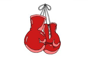 Hanging boxing gloves set