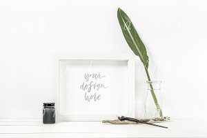 The Calligrapher White Frame Mockup