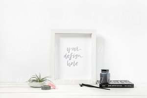 Calligraphy Ink White Frame Mockup