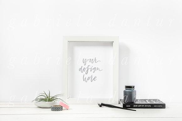 Download Calligraphy Ink White Frame Mockup