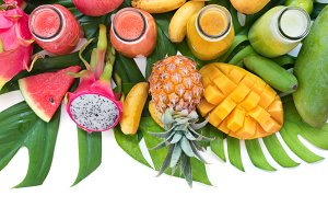 Tropic flat lay top view tropical colorful fruits