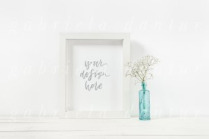 Floral Bottle Styled Frame Mockup