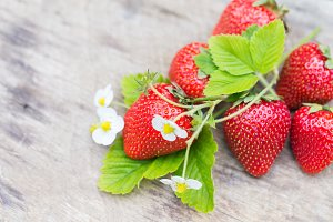 Perfect aroma sweet strawberry wooden background