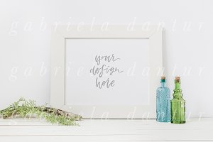 Bottle & Plant Styled Frame Mockup