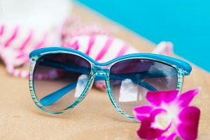 Sunglasses orchid flower colorful swimwear pool