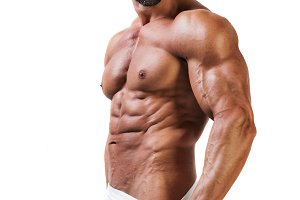 Muscular atletic man in underwear isolated white