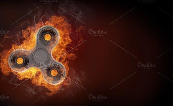 Fidget Spinner In Fire Isolated On Black Background Banner