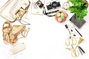 Fashion flat lay sale shopping