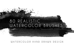 80 realistic watercolor brushes