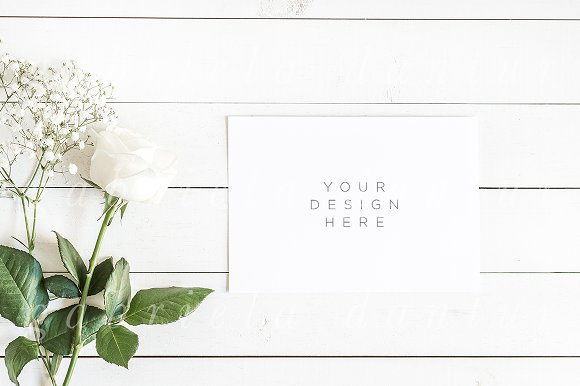 Download White Floral A5 Card Mockup