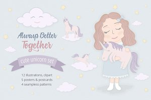 Cute Funny Unicorn Set