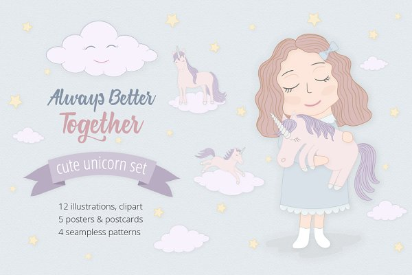 Cute Funny Unicorn Set