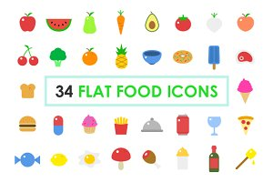 Food Icons – Stroked & Flat Colored
