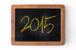 New year 2015 written on a slate
