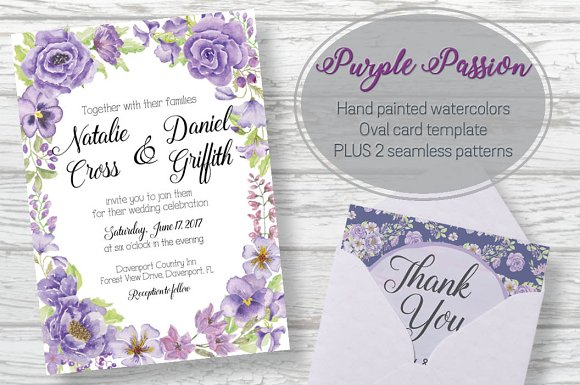 Oval Card Template Purple Passion'