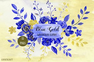 Blue Gold Clipart Watercolor