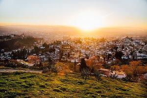 Sunset Over European Mountain Town