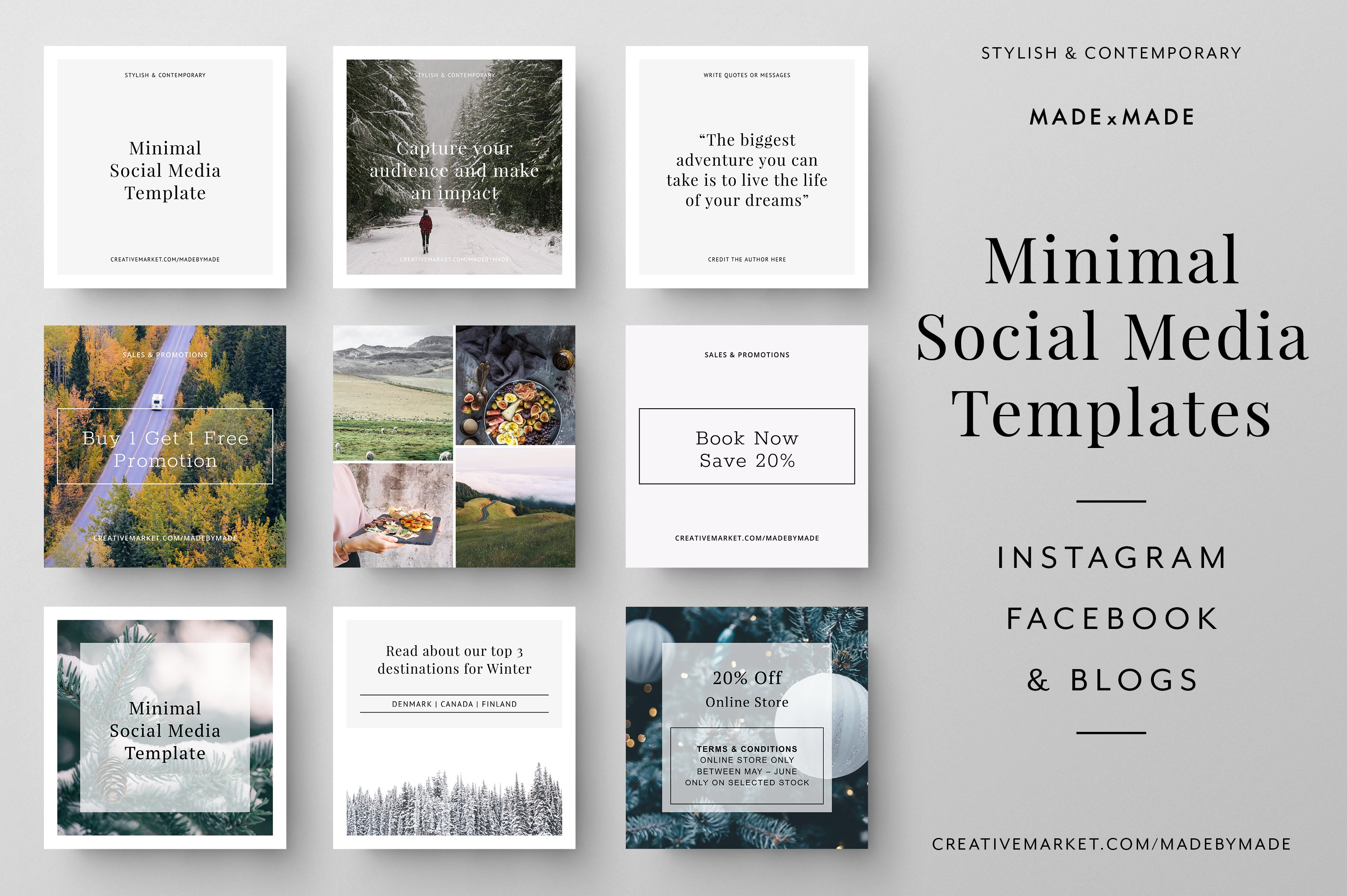 minimal social media templates social media templates creative market. Black Bedroom Furniture Sets. Home Design Ideas