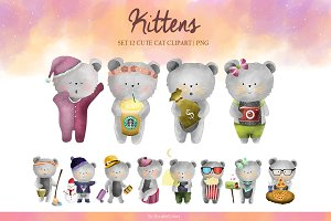 Set 12 Cute Kittens