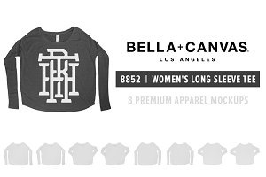 Bella Canvas 8852 Women's LS Mockups